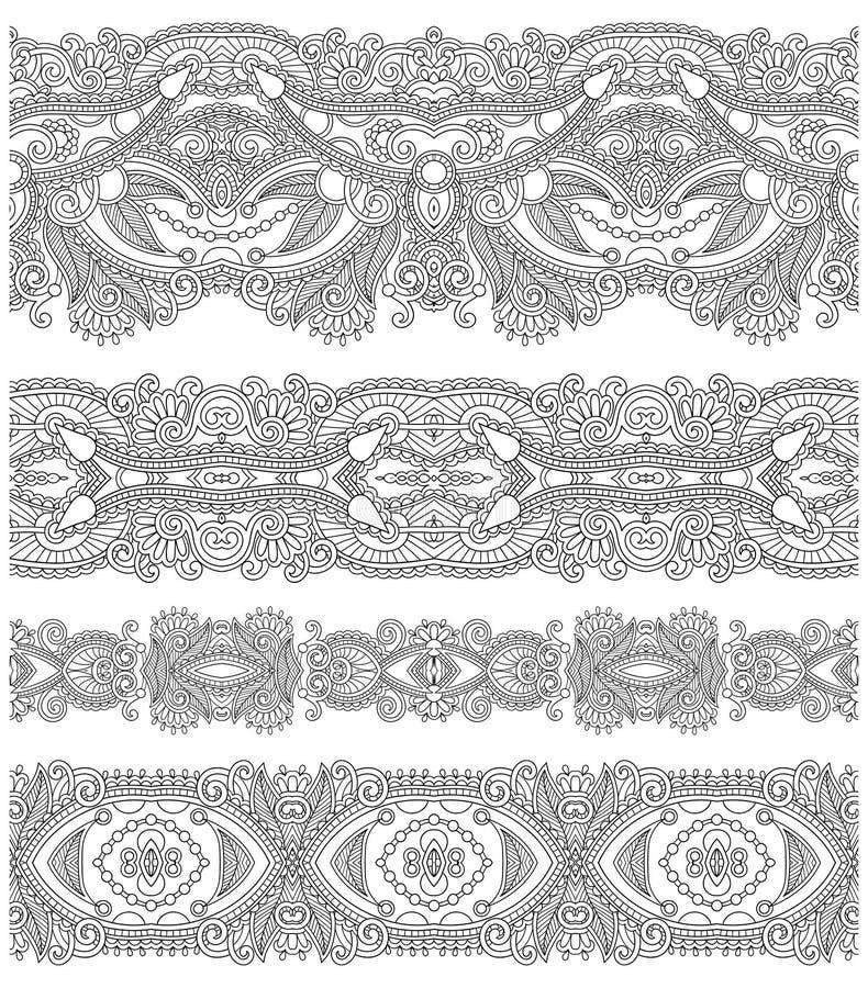 Samling av sömlösa dekorativa blom- band, royaltyfri illustrationer