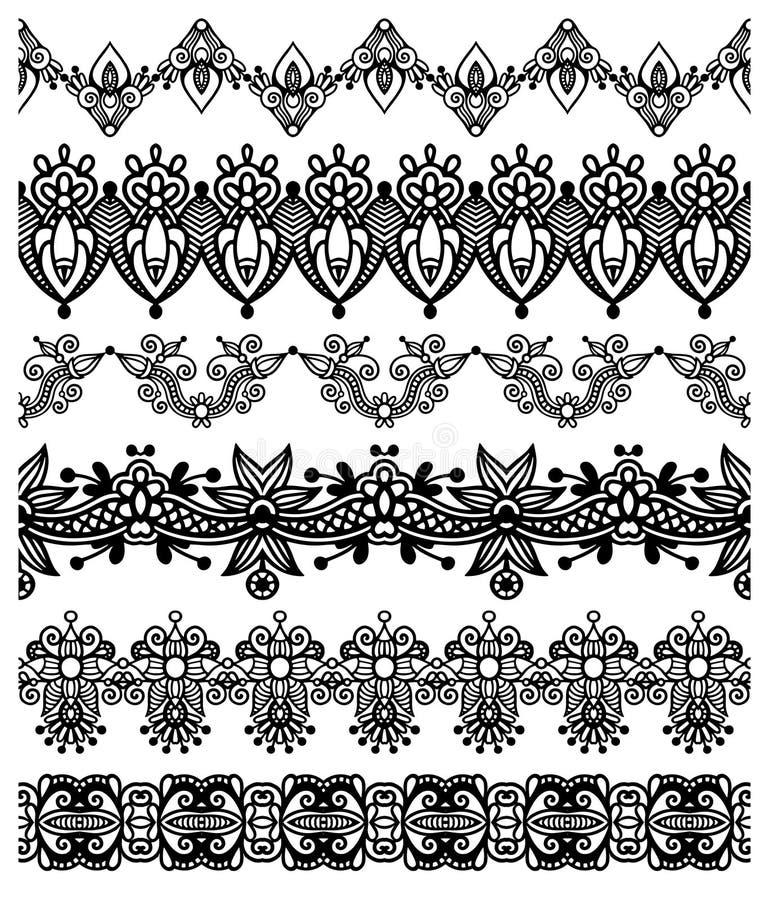 Samling av sömlösa dekorativa blom- band, stock illustrationer