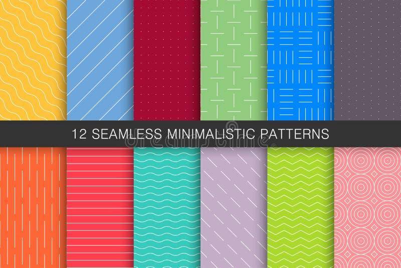 Samling av sömlösa geometriska modeller - ljusa färgrika bakgrunder vektor illustrationer