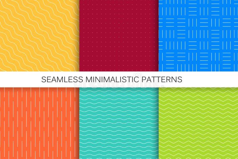 Samling av sömlösa geometriska modeller - ljusa färgrika bakgrunder royaltyfri illustrationer