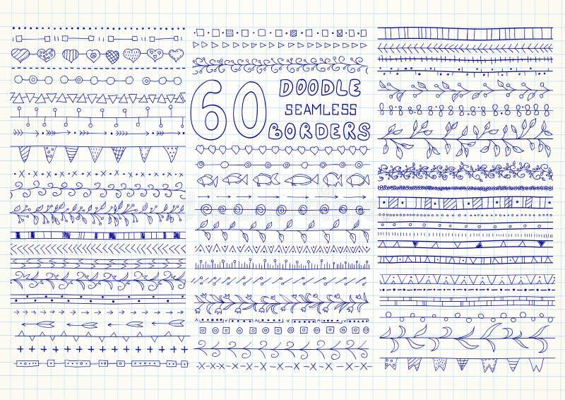 Samling av 60 sömlösa gränser för vektor i klotterstil stock illustrationer