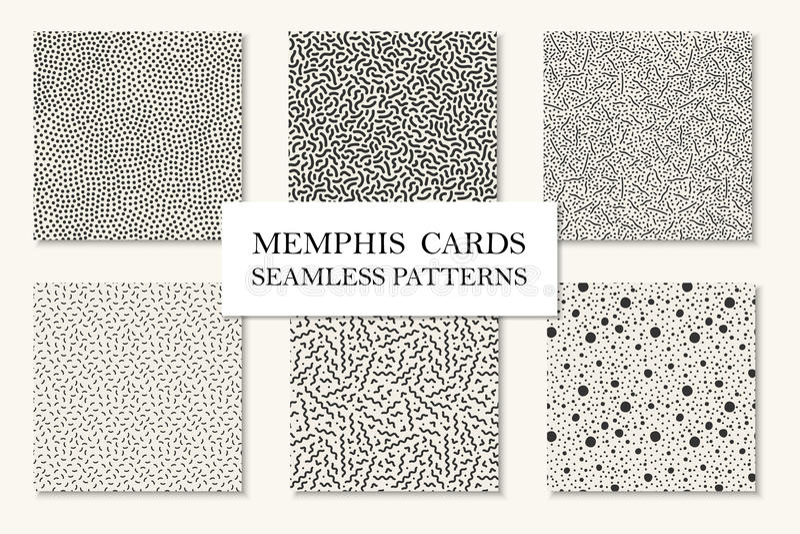 Samling av sömlösa memphis modeller, kort Krökta prickiga mosaiktexturer Retro modestil 80 - 90-tal vektor illustrationer