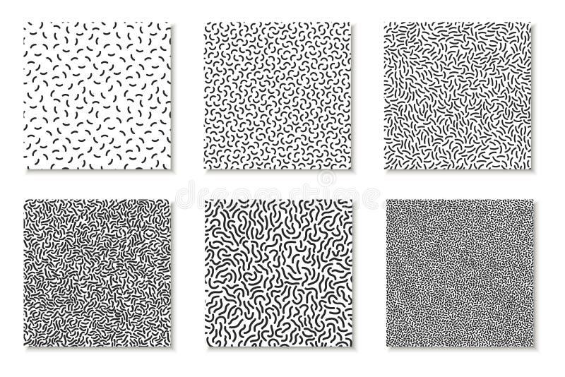 Samling av sömlösa memphis modeller, kort Mosaiska svartvita texturer Modedesign 80 - 90-tal stock illustrationer
