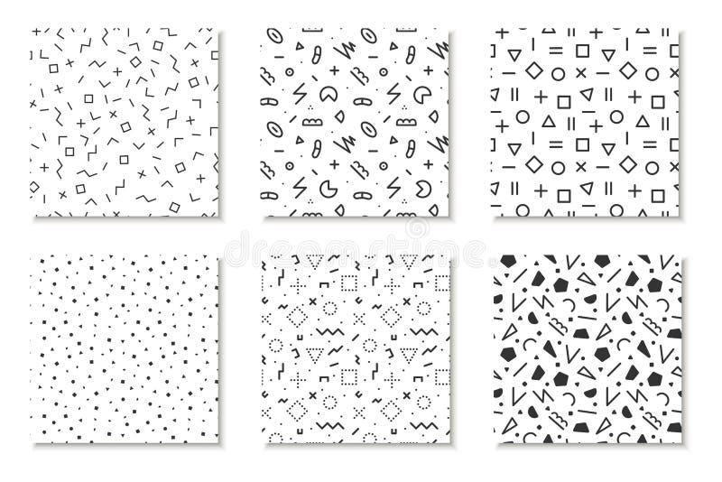 Samling av sömlösa memphis modeller, kort Mosaiska svartvita texturer Modedesign 80 - 90-tal royaltyfri illustrationer