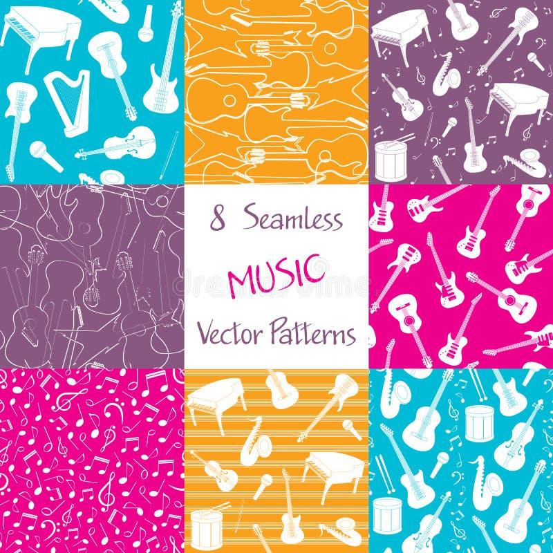 Samling av sömlösa modeller för musik vektor illustrationer