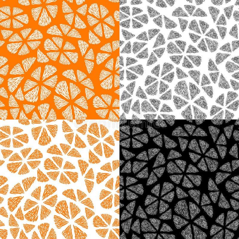 Samling av sömlösa modeller med den abstrakta apelsinen royaltyfri illustrationer