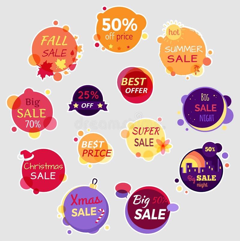 Samling av Sale beståndsdelar stock illustrationer