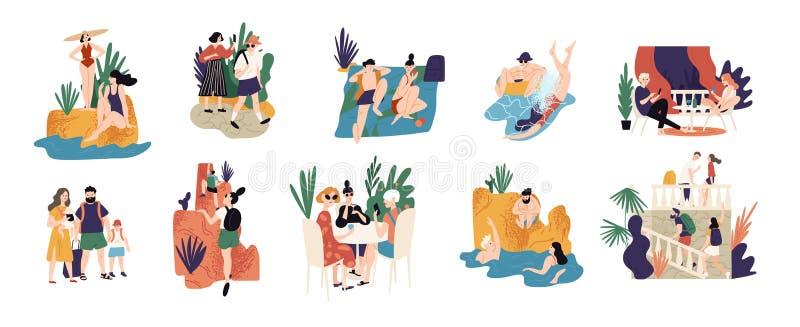 Samling av semesteraktiviteter eller platser - folk som fotvandrar och att simma och att solbada och att dyka, sight under sommar vektor illustrationer