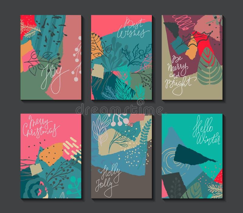Samling av sex färgrika vektorjulkort stock illustrationer