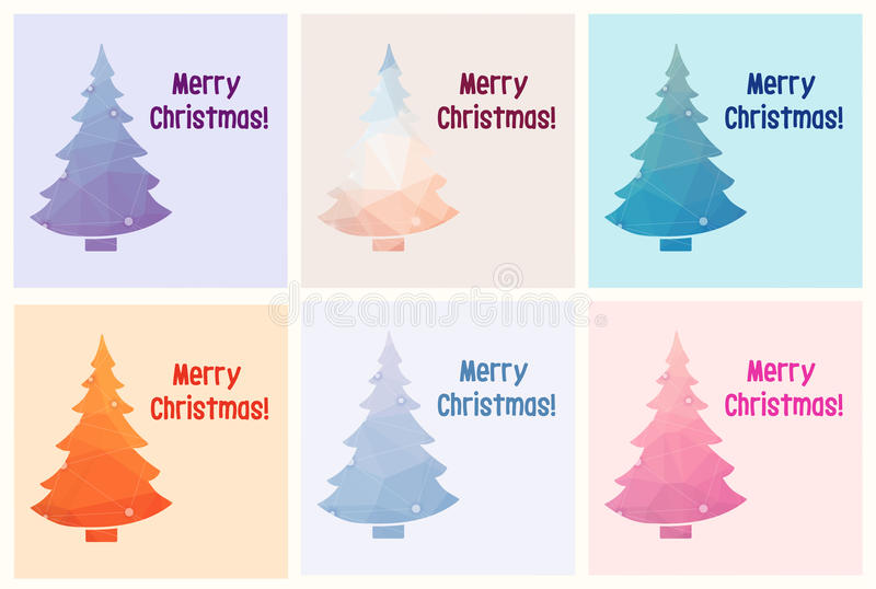 Samling av sex glade julkort med polygonjulgranen vektor illustrationer