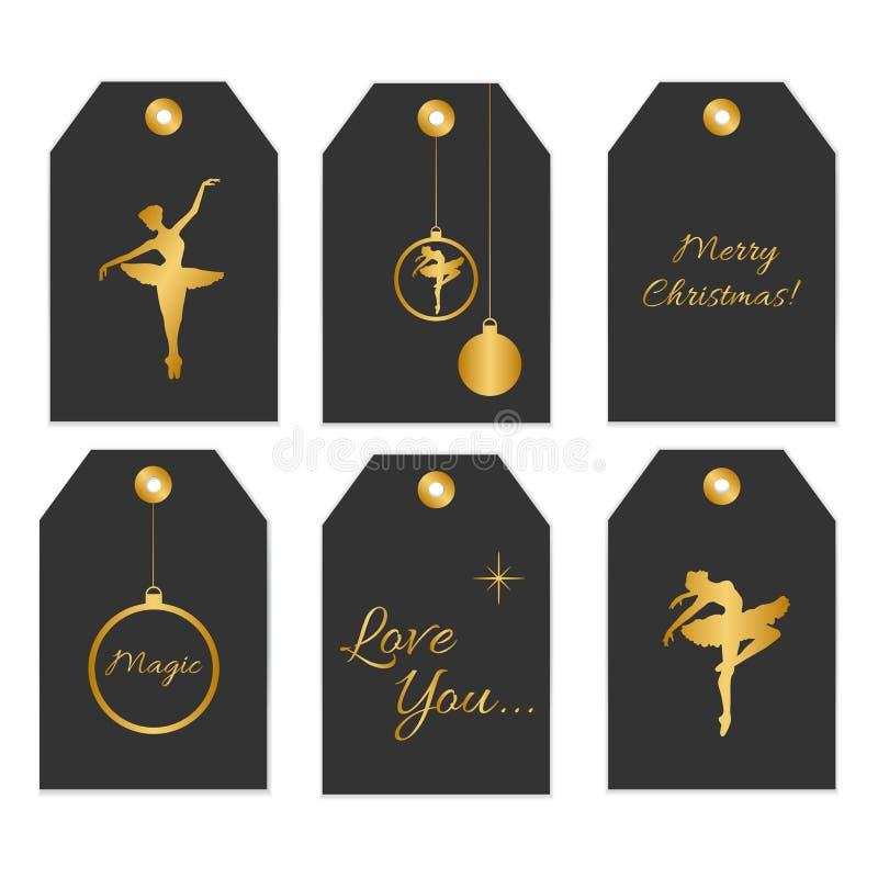 Samling av sex gulliga redy-till-bruk gåvaetiketter stock illustrationer