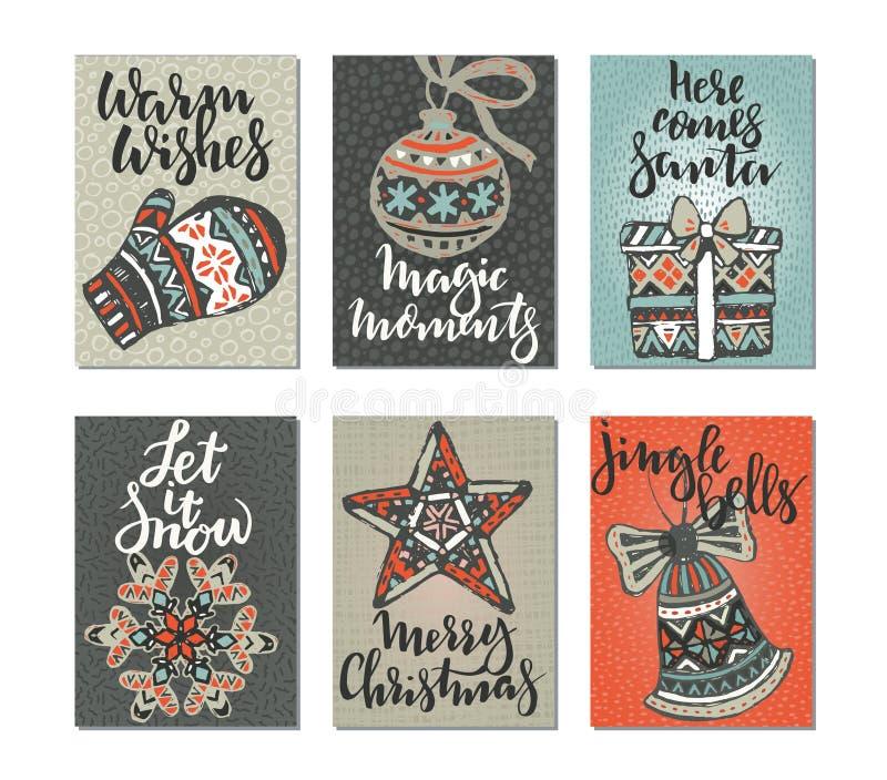 Samling av sex julhälsningkort royaltyfri illustrationer