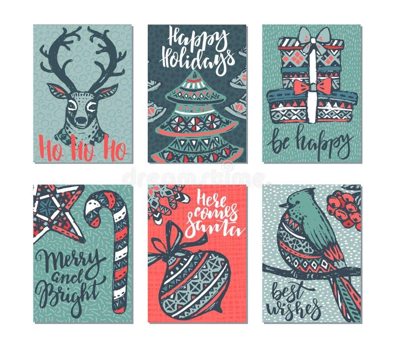 Samling av sex julhälsningkort vektor illustrationer