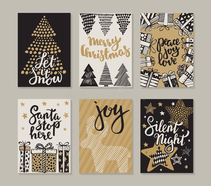 Samling av sex julhälsningkort stock illustrationer
