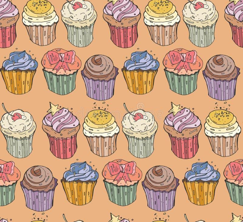 Samling av sex muffin Illustration och bakgrund för vektor sömlös vektor illustrationer