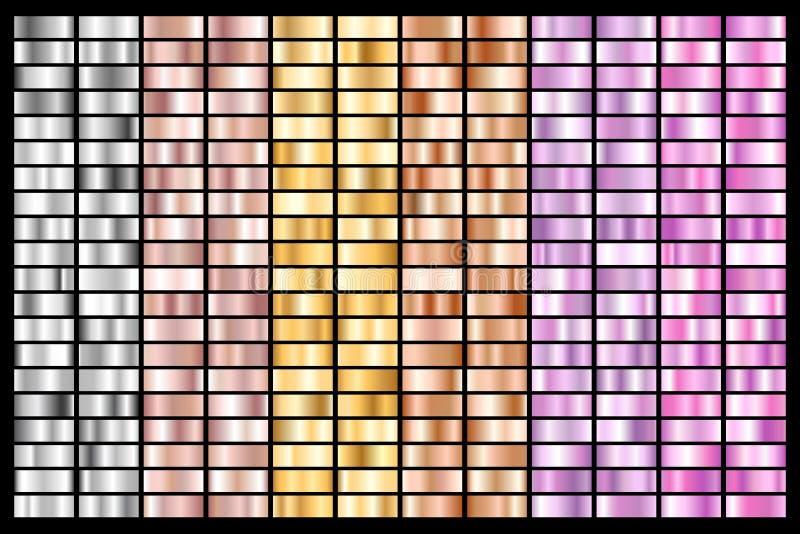 Samling av silver, krom, guld, rosa guld metallisk och ultraviolett lutning för brons också vektor för coreldrawillustration vektor illustrationer