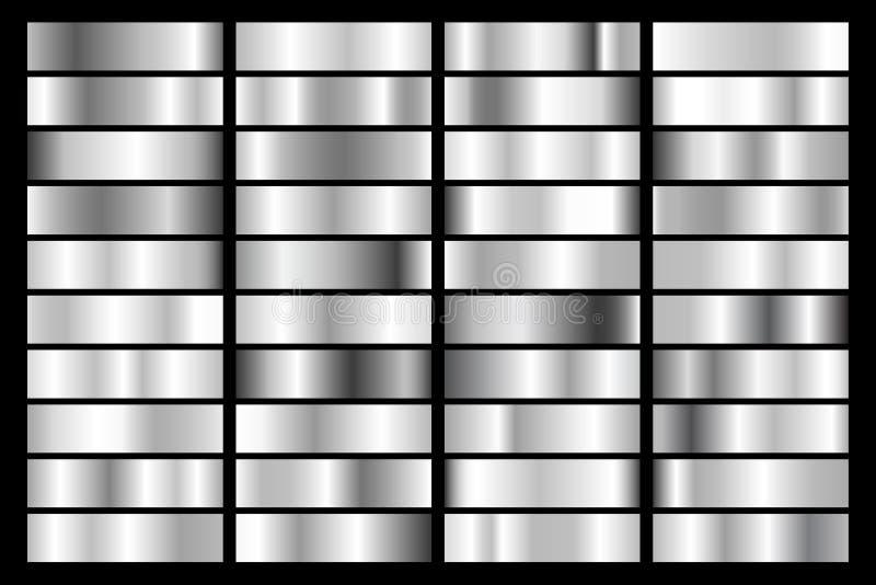 Samling av silver, metallisk lutning för krom Briljantplattor med silvereffekt också vektor för coreldrawillustration stock illustrationer