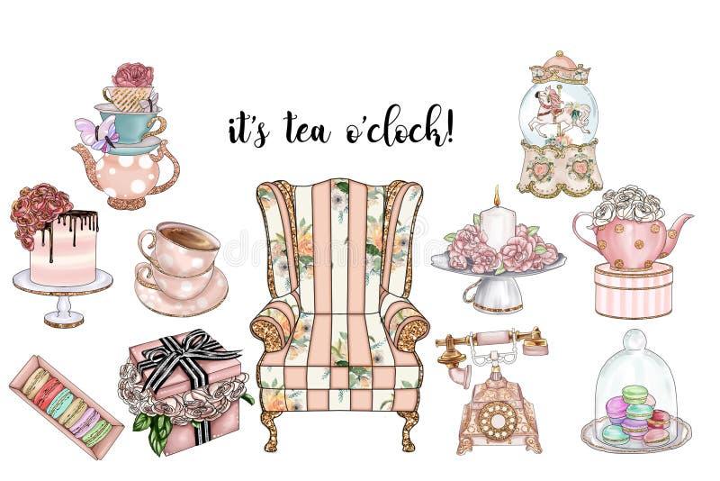 Samling av sjaskiga chic objekt och tebjudninguppsättningen - handgjorda rastergemkonster stock illustrationer