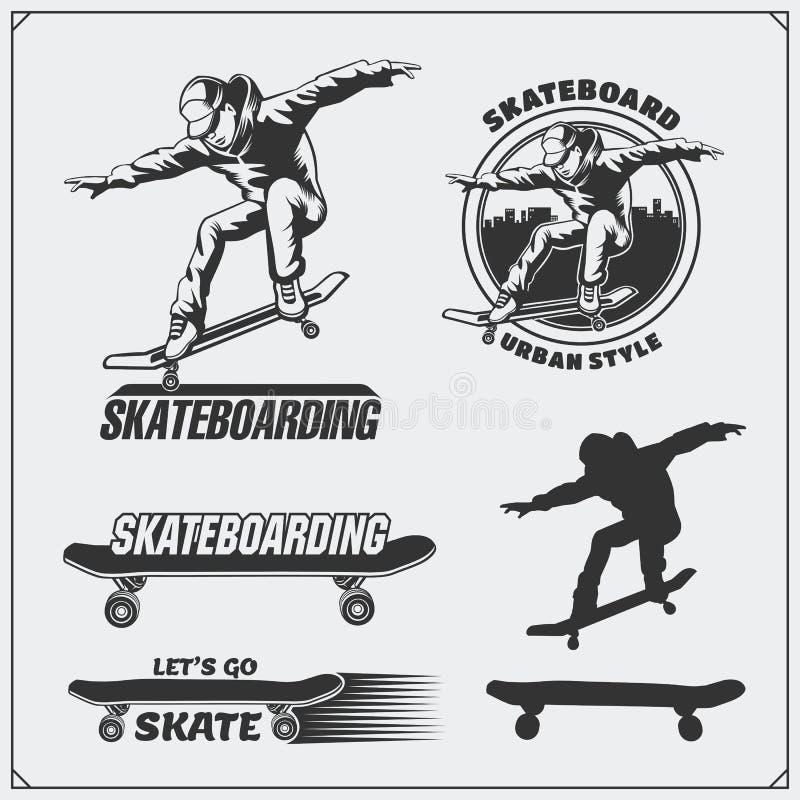 Samling av skateboarding etiketter, emblem, emblem och designbeståndsdelar Kontur av en skateboarder royaltyfri illustrationer