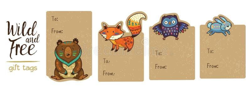 Samling av skogsmarkgåvaetiketter royaltyfri illustrationer