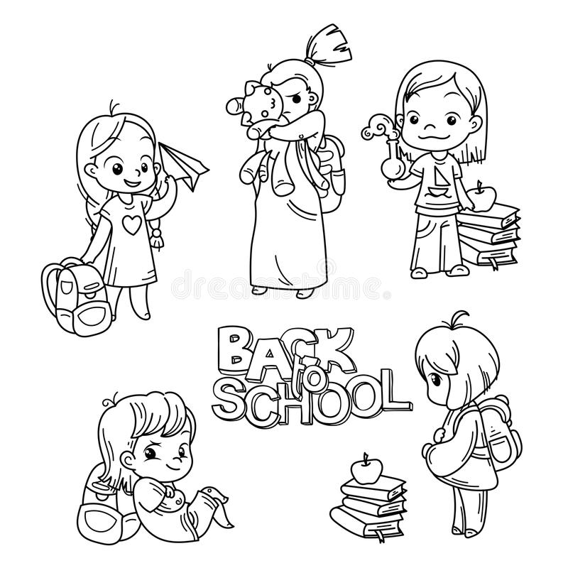Samling av skolatecknad filmbarn royaltyfri illustrationer