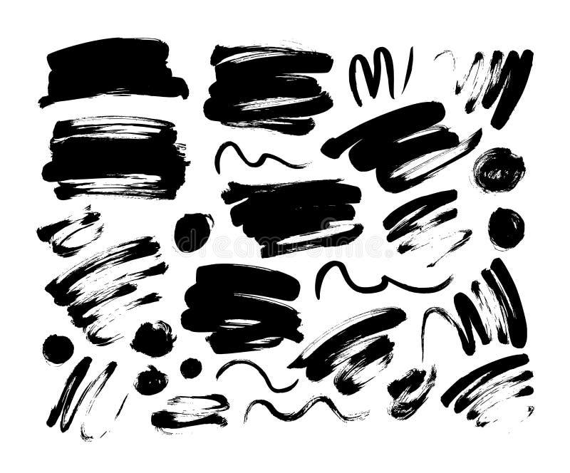 Samling av slaglängd, linje eller textur för vektorsvartborste Buktade linjer, virvlar royaltyfri illustrationer