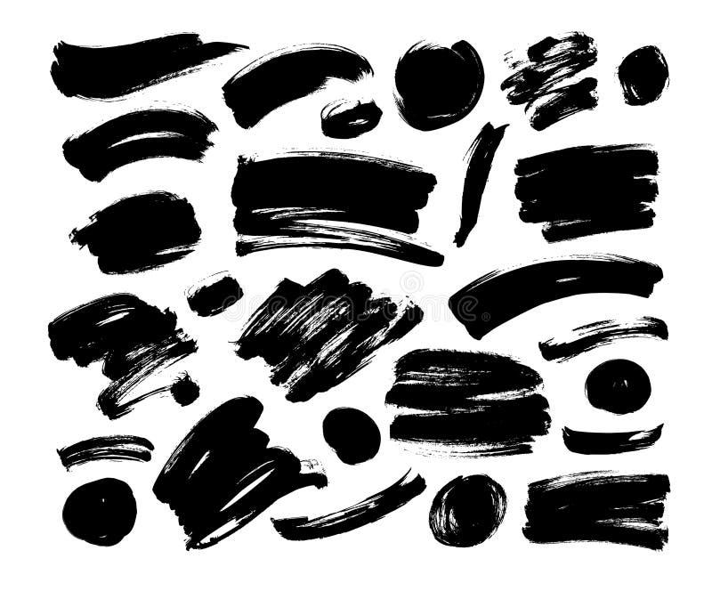 Samling av slaglängd, linje eller textur för vektorsvartborste Den smutsiga konstnärliga designbeståndsdelen, formar stock illustrationer