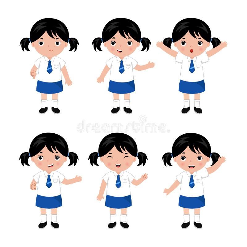 Samling av små flickor i skolalikformig vektor royaltyfri illustrationer