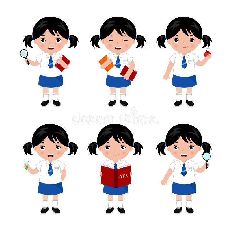 Samling av små flickor i skolalikformig vektor vektor illustrationer