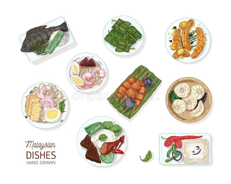 Samling av smakliga mål av malaysisk kokkonst Packen av den läckra kryddiga asiatiska restaurangen besegrar att ligga på plattor stock illustrationer