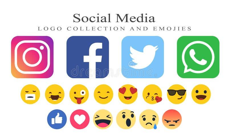 Samling av sociala massmedialogoer och emojies stock illustrationer
