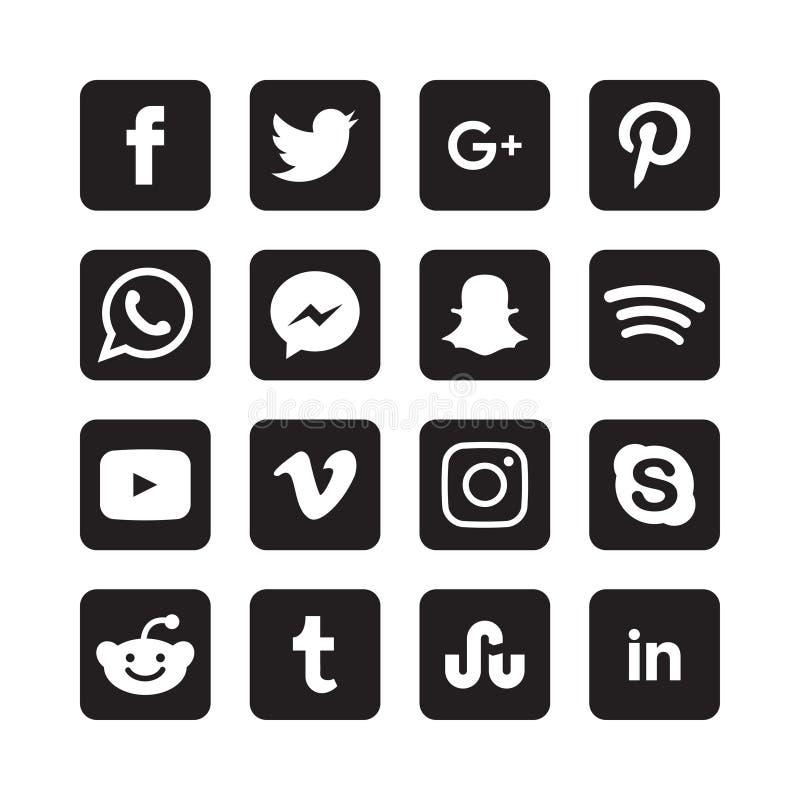Samling av sociala massmediasymboler royaltyfri illustrationer