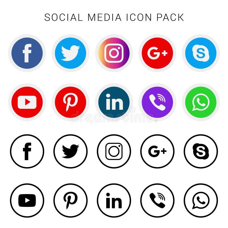 Samling av sociala massmediasymboler och logoer royaltyfri illustrationer