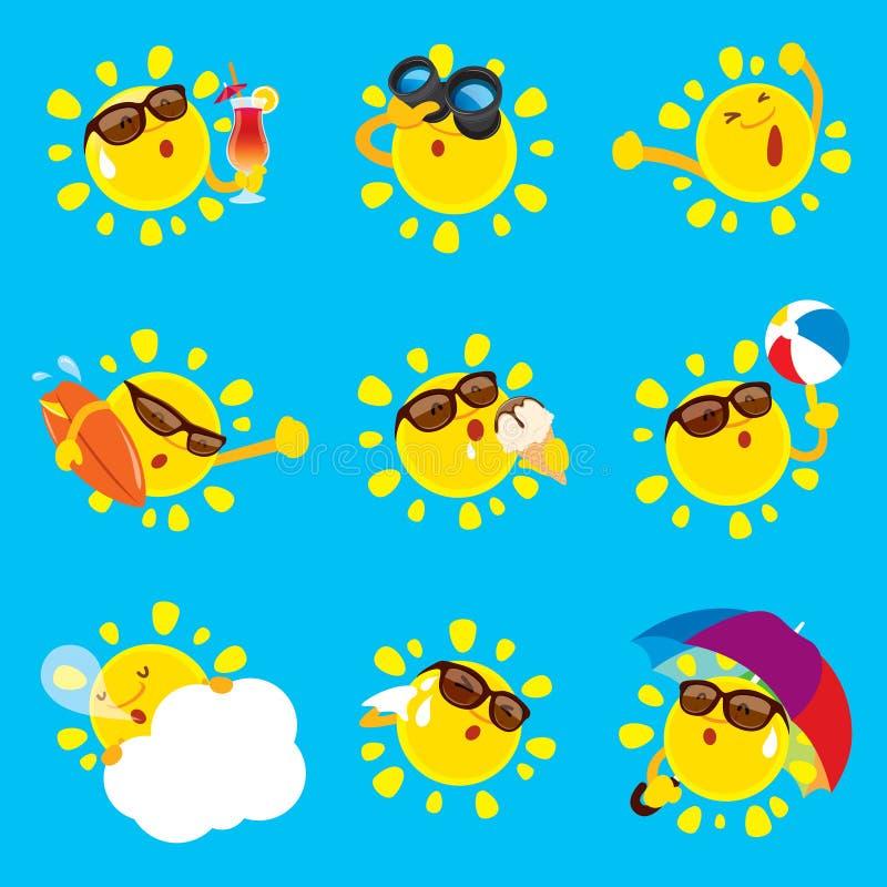 Samling av sommarsolen vektor illustrationer