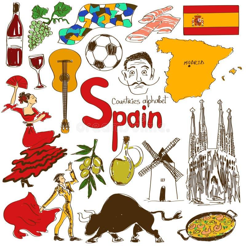 Samling av Spanien symboler stock illustrationer