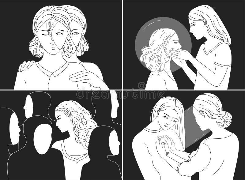 Samling av stående av deprimerade unga kvinnor Begrepp av fördjupningen, trötthet, psykisk störning som är psykologisk royaltyfri illustrationer