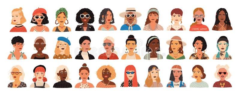 Samling av stående av gulliga roliga unga stilfulla kvinnor Packe av att le hipsterflickor med olika frisyrer och royaltyfri illustrationer