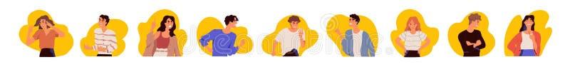 Samling av stående av unga män och kvinnor som uttrycker ilska, vrede, ursinne, raseri Packe av ilsket, vresigt, ilsket eller stock illustrationer