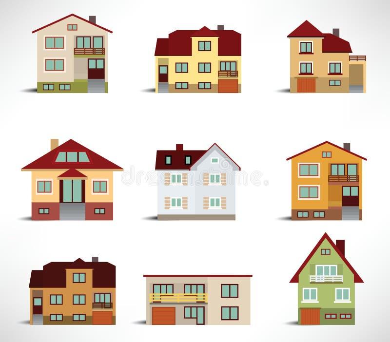 Samling av stads- hus stock illustrationer