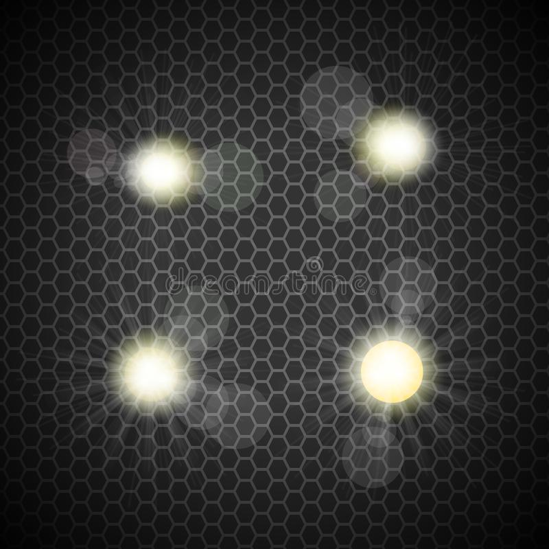 Samling av starbursts och signalljus med optiska signalljus royaltyfri illustrationer