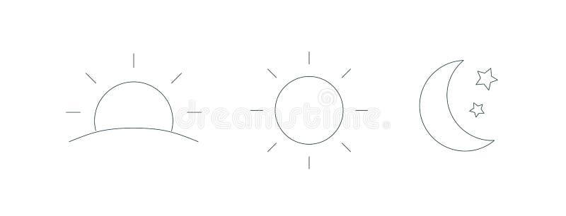 Samling av stignings- eller inställningssolen, växande måne- och stjärnasymboler Ställ in av dag- och nattetidöversiktssymboler P stock illustrationer