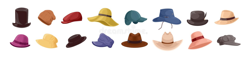 Samling av stilfulla män s och headwear för kvinnor s av olika typer - hattar, lock, kepi som isoleras på vit bakgrund vektor illustrationer