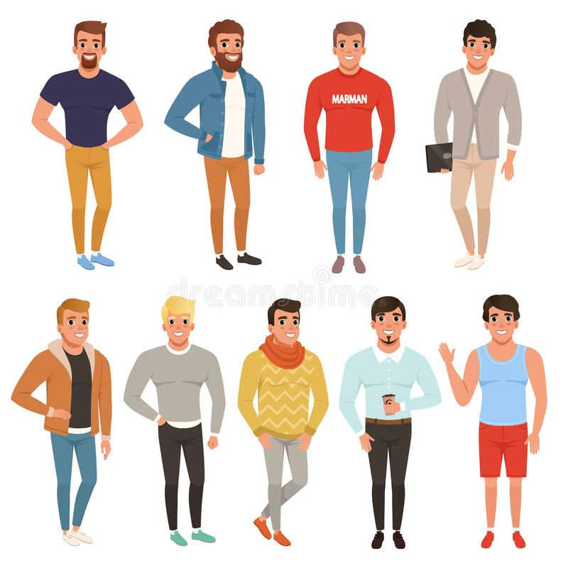 Samling av stiliga män i stilfulla kläder tillfällig wear Manliga tecken som poserar med att le framsidauttryck stock illustrationer