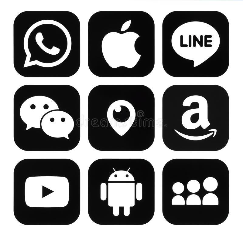 Samling av svarta logoer för populära mobila apps vektor illustrationer