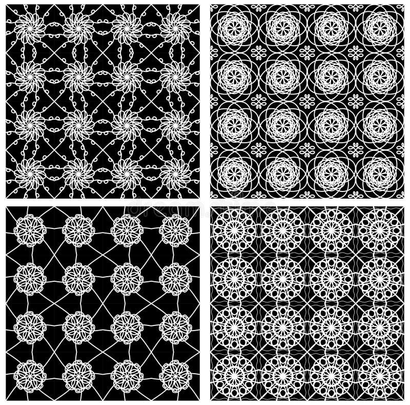Samling av svartvita klassiska tappningmodeller, sömlös svart tegelplatta med den vita geometriska linjen modeller royaltyfri illustrationer