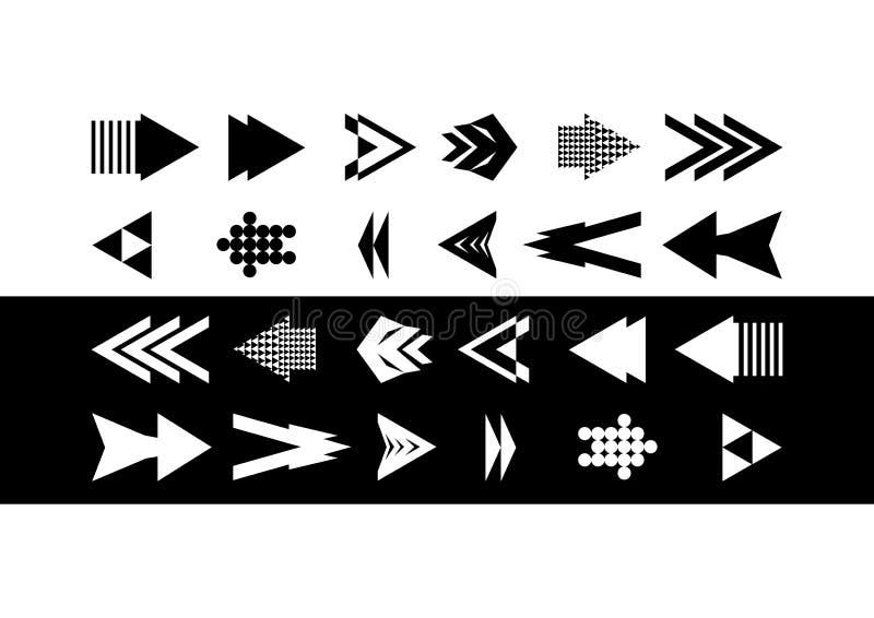 Samling av svartvita pilar Unik pilsymbol Samling för symbolspilpil stock illustrationer