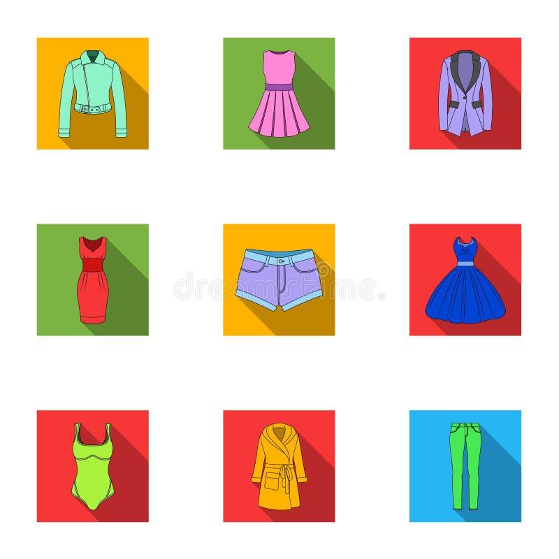 Samling av symboler av kvinnors kläder Olik kläder för kvinna` s för arbete som går, sportar Kvinnor som beklär symbolen i uppsät royaltyfri illustrationer