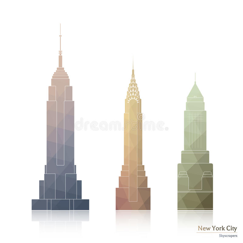 Samling av symboler av tre berömda skyskrapor av New York City stock illustrationer
