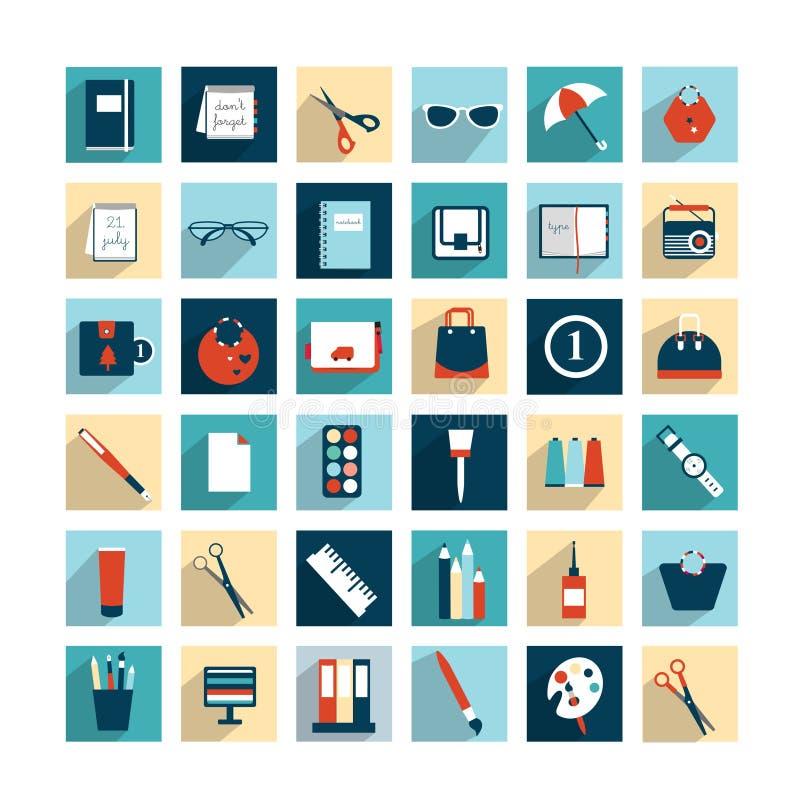 Samling av symboler för design för arbetskontorslägenhet. royaltyfri illustrationer