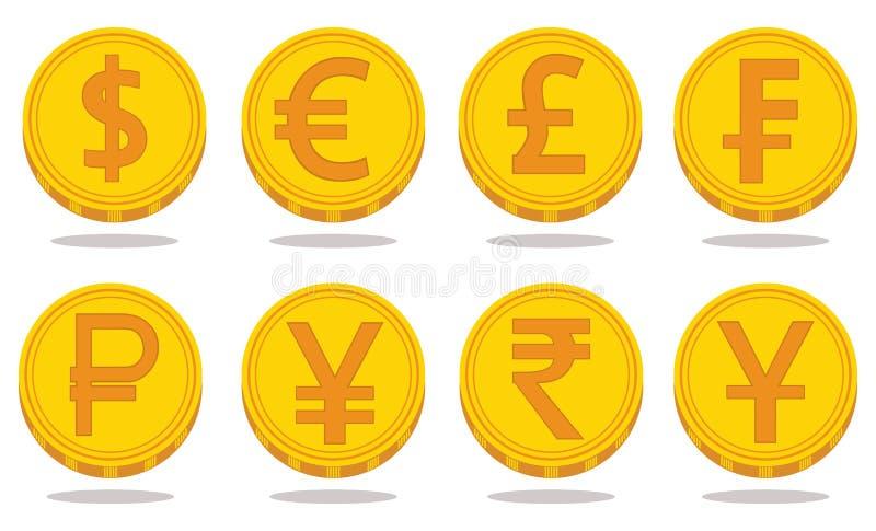 Samling av symboler med valutasymboler också vektor för coreldrawillustration royaltyfri illustrationer